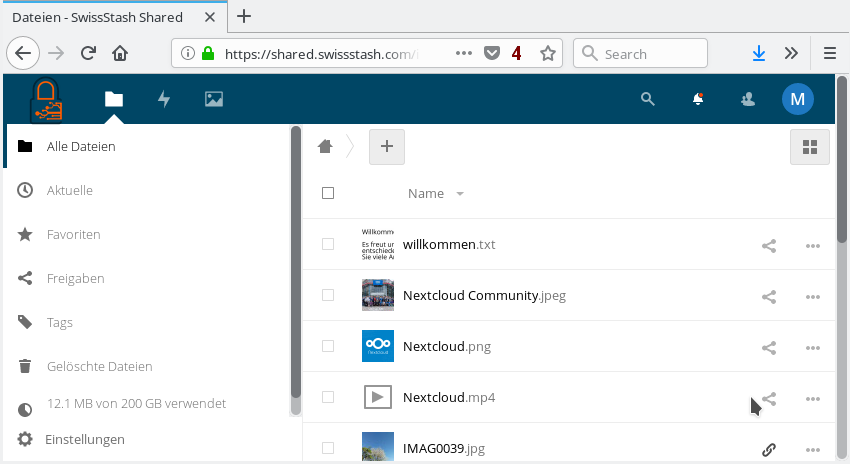 SwissStash Nextcloud Screenshot